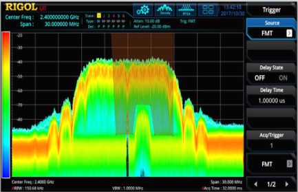 Identify specific signals of interest with frequency mask, power triggers, or use external triggers to time correlate digital signals for additional analysis.