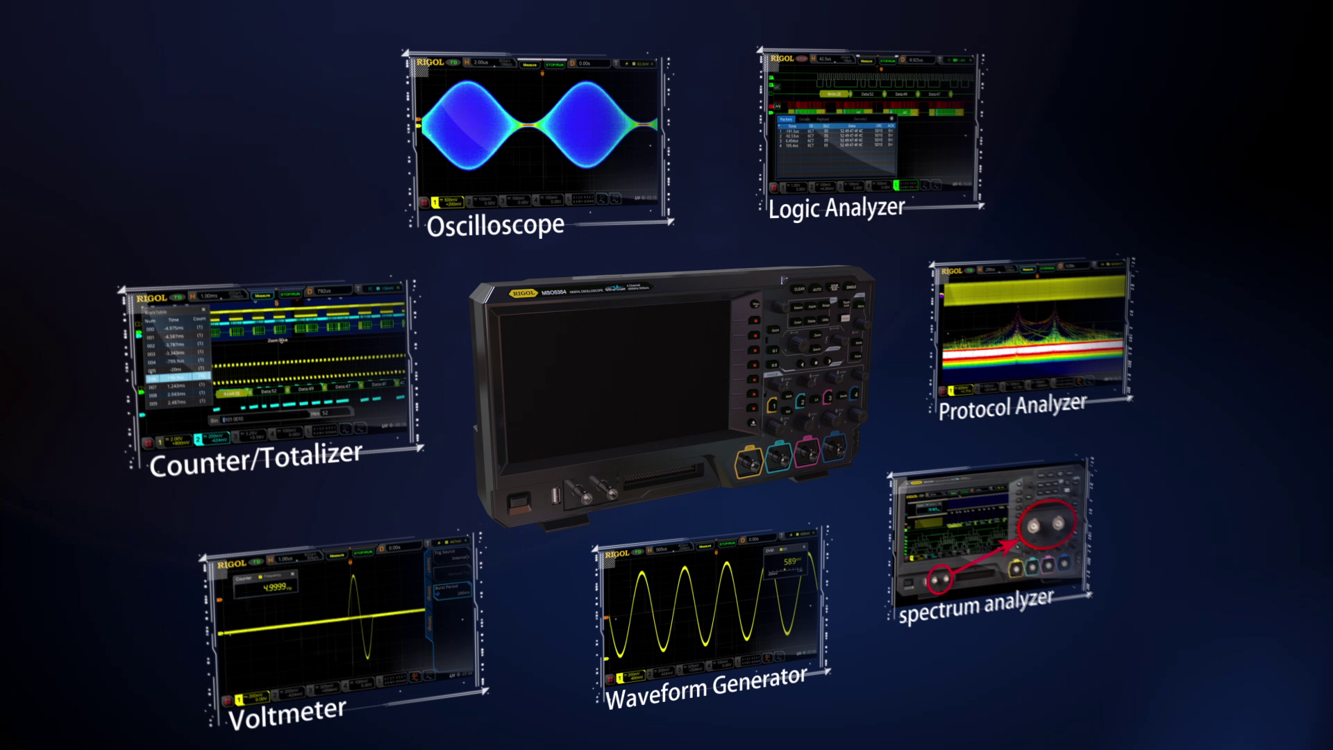Combine an Oscilloscope, Spectrum Analyzer, Logic Analyzer, Protocol Analyzer, Waveform Generator, Voltmeter, and Counter/Totalizer in one instrument to quickly find answers to your measurement challenges.