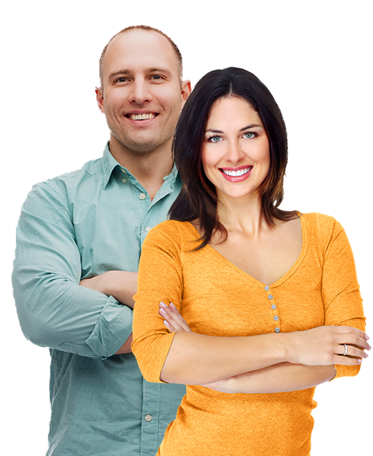 Confident man and woman smiling out of debt