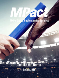 MPact spring 2018 cover photo of baton being handed off