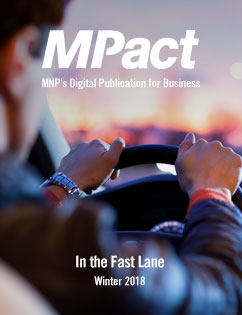 MPact winter 2018 cover photo of person driving car in the fast lane