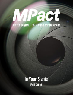 MPact fall 2019 cover photo of camera aperture