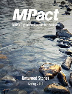 MPact spring 2019 cover photo of creek running over rocks